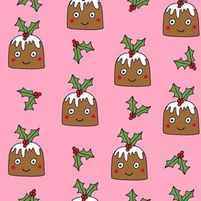 christmas pudding fabric // christmas fabric, cute christmas fabric, kawaii christmas fabric, andrea lauren fabric, cute design, kids christmas fabric, christmas pudding gift wrap, christmas wrapping paper -  pink