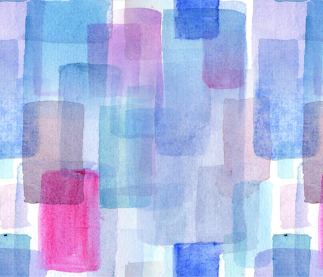 Modern Watercolour Tiles in Blue Hues fabric by staceyburtcreative on Spoonflower - custom fabric