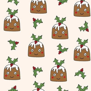 christmas pudding fabric // christmas fabric, cute christmas fabric, kawaii christmas fabric, andrea lauren fabric, cute design, kids christmas fabric, christmas pudding gift wrap, christmas wrapping paper -  cream