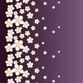 Ivory White Raining Blossoms on Dark Purple Ombre