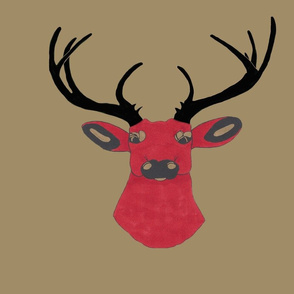 Red Deer with black horns