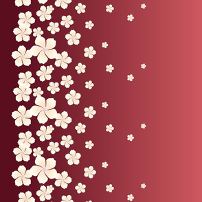 Ivory White Raining Blossoms on Red Ombre
