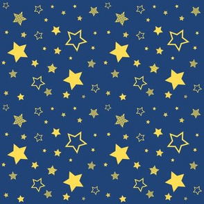 yellow stars, deep blue sky