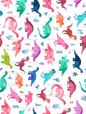 Tiny Multicolored Dinos on White Rotated