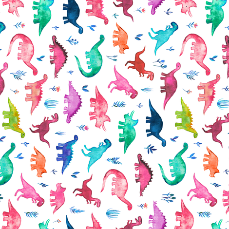 Tiny Multicolored Dinos on White Rotated fabric by micklyn on Spoonflower - custom fabric