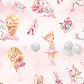 "10"" Little Cute Ballerinas, Cats,Unicorns and Balloons on blush pink watercolor background"