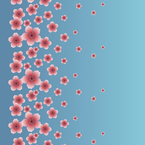 Pink Raining Blossoms on Sky Blue Ombre