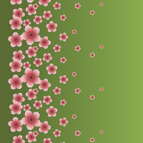Pink Raining Blossoms on Green Ombre