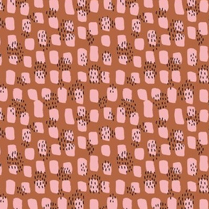 Abstract Scandinavian pink autumn spots textured raw brush and ink strokes pink copper brown