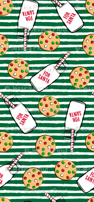 Milk and cookies for Santa - green stripes