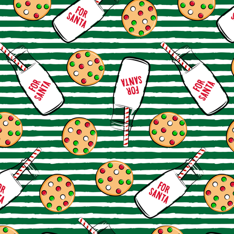 Milk and cookies for Santa - green stripes fabric by littlearrowdesign on Spoonflower - custom fabric