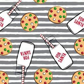milk and cookies for santa - grey stripe
