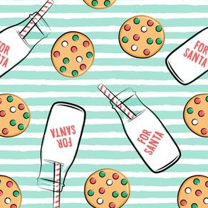 milk and cookies for santa - mint stripes