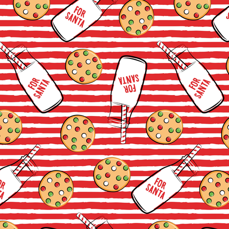 milk and cookies for santa - red stripes fabric by littlearrowdesign on Spoonflower - custom fabric
