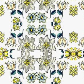 Teal multi floral grid
