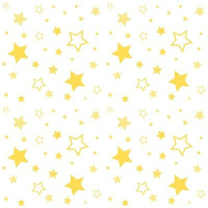 yellow stars, white sky