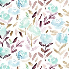 Watercolor floral pattern in blue and deep purple