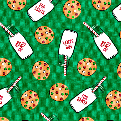 milk and cookies for santa - green woven fabric by littlearrowdesign on Spoonflower - custom fabric