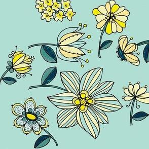 Teal multi floral on teal
