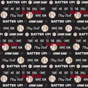 ALLSTAR vintage black LARGE986 worn baseball stars and text