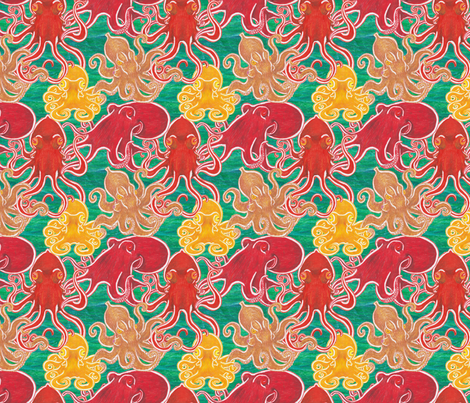 Octopodes on Teal fabric by bengarrybenross on Spoonflower - custom fabric