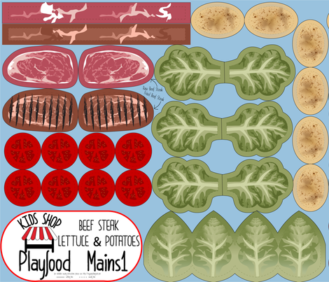 Cut and Sew: Playfood: Beef Steak and Lettuce and Potatoes fabric by heyjunge on Spoonflower - custom fabric
