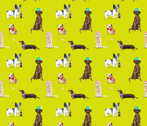 Dogs of Insta // Chartreuse  fabric by theartwerks on Spoonflower - custom fabric