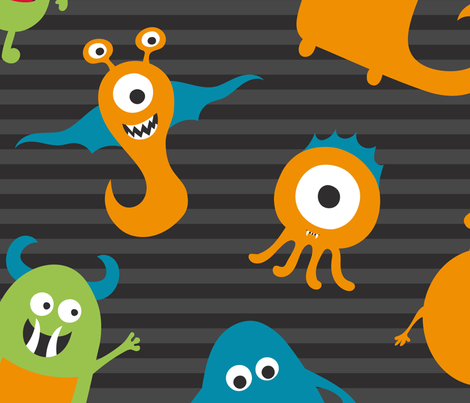 Monsters fabric by pmaxwelldesigns on Spoonflower - custom fabric