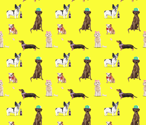 Dogs of Insta // Yellow fabric by theartwerks on Spoonflower - custom fabric