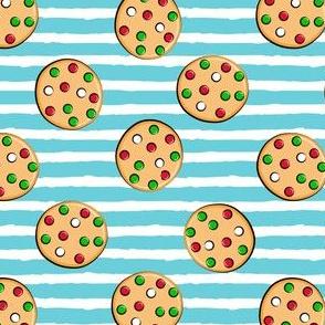 just cookies - christmas cookies on blue stripes