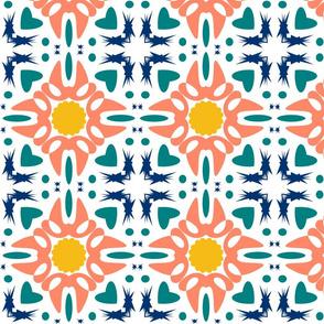 Tile - salmon turquoise blue yellow