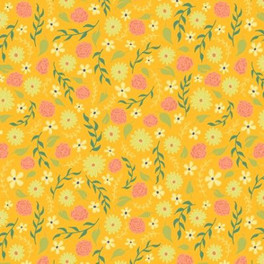 Rose and Daisy Floral Ditsy on Yellow