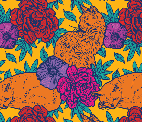 Chinoiserie Inspired Floral Design with Cats - vivid fabric by designtherapy on Spoonflower - custom fabric