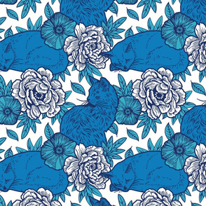 Chinoiserie Inspired Floral Design with Cats - Blue and White
