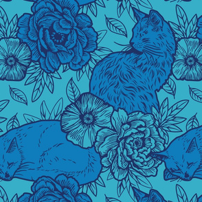 Chinoiserie Inspired Floral Design with Cats - Blue