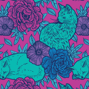 Chinoiserie Inspired Floral Design with Cats - Purple and teal