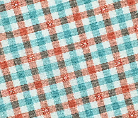 Stitched Gingham* (Mona & Polymer) || check star starburst stitching needlework checkerboard spring summer 70s retro vintage pastel coral mint