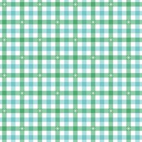 Stitched Gingham* (Green Stamps & Polymer) || check star starburst stitching needlework checkerboard spring summer 70s retro vintage pastel mint