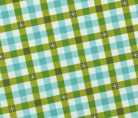 Stitched Gingham* (Split Pea Soup & Polymer) || check star starburst stitching needlework checkerboard spring summer 70s retro vintage pastel mint