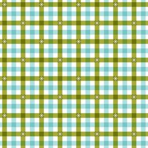 Stitched Gingham* (Split Pea Soup & Polymer) || check star starburst stitching needlework checkerboard spring summer 70s retro vintage pastel mint