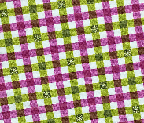 Stitched Gingham* (Split Pea Soup & Pink Liza) || check star starburst stitching needlework checkerboard spring summer 70s retro vintage