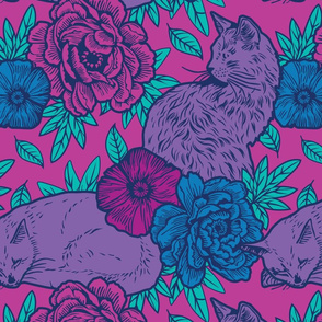 Chinoiserie Inspired Floral Design with Cats - Purple
