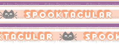 Spooktacular* (Flash) || Halloween polyester jacquard stripes pixel vintage double knit 70s retro groovy tee t-shirt shirt children childrens typography vintage black cat kitten