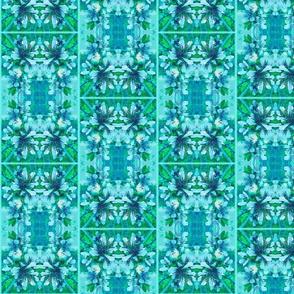 Aqua & Blue Nectarine Blossoms Hawaiian Checkerboard