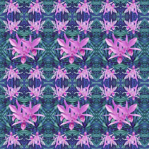 Pink Cattleya Orchids on Teal Hawaiian Tribal Geometric