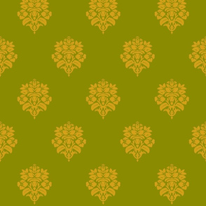 Green Gold Damask