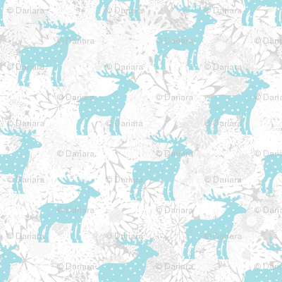 Christmas reindeer, snowfall