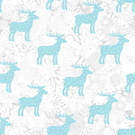 Christmas reindeer, snowfall fabric by dariara on Spoonflower - custom fabric