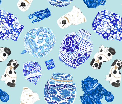 Chinoiserie Curiosity Cabinet Toss in Ice Blue fabric by elliottdesignfactory on Spoonflower - custom fabric