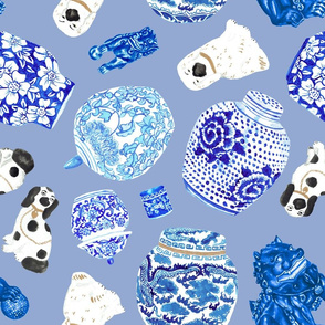 Chinoiserie Curiosity Cabinet Toss in Delft Blue